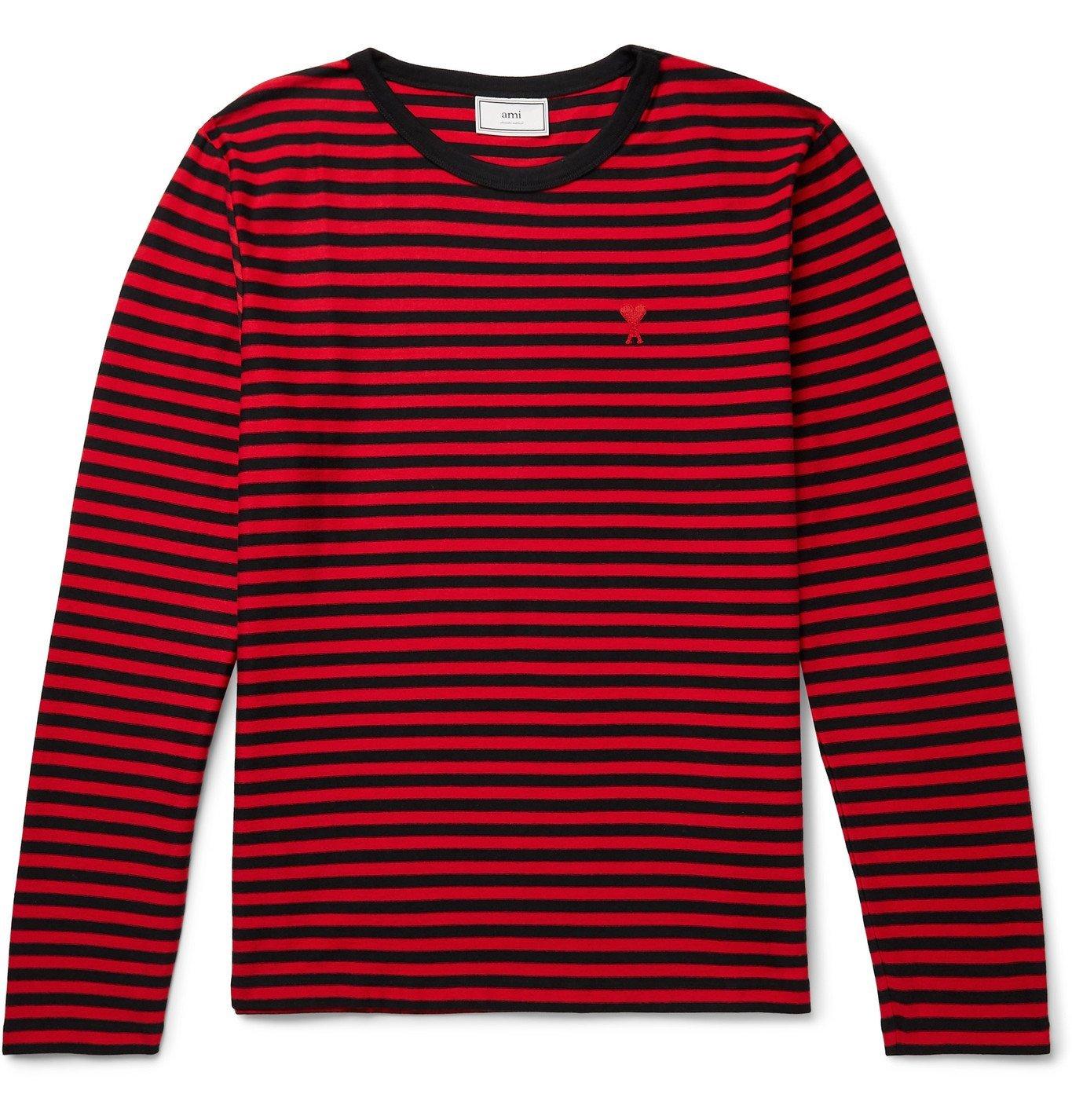 Photo: AMI - Logo-Appliquéd Striped Cotton-Jersey T-Shirt - Red