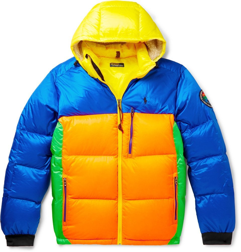 Photo: Polo Ralph Lauren - Logo-Appliquéd Colour-Block Quilted Shell Hooded Down Jacket - Multi