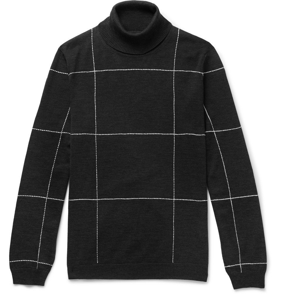 Dunhill - Slim-Fit Checked Embroidered Merino Wool Rollneck Sweater - Men - Charcoal
