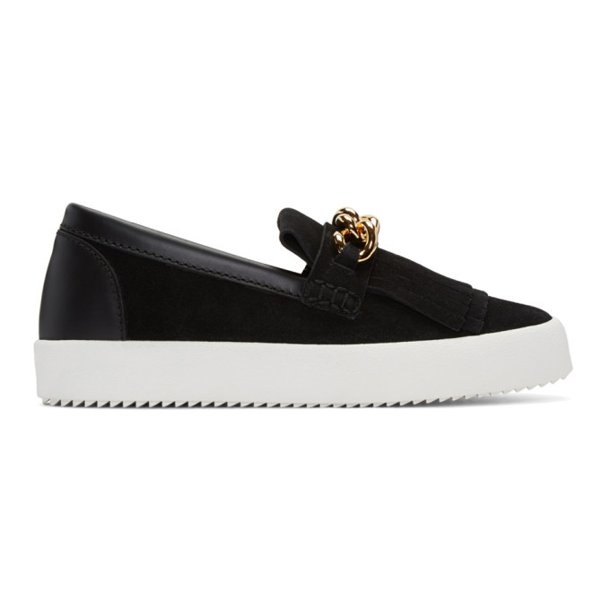 Photo: Giuseppe Zanotti Black Suede London Slip-On Sneakers