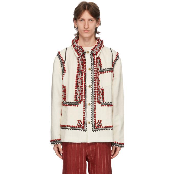 Photo: Bode White Pom-Pom Applique Workwear Jacket