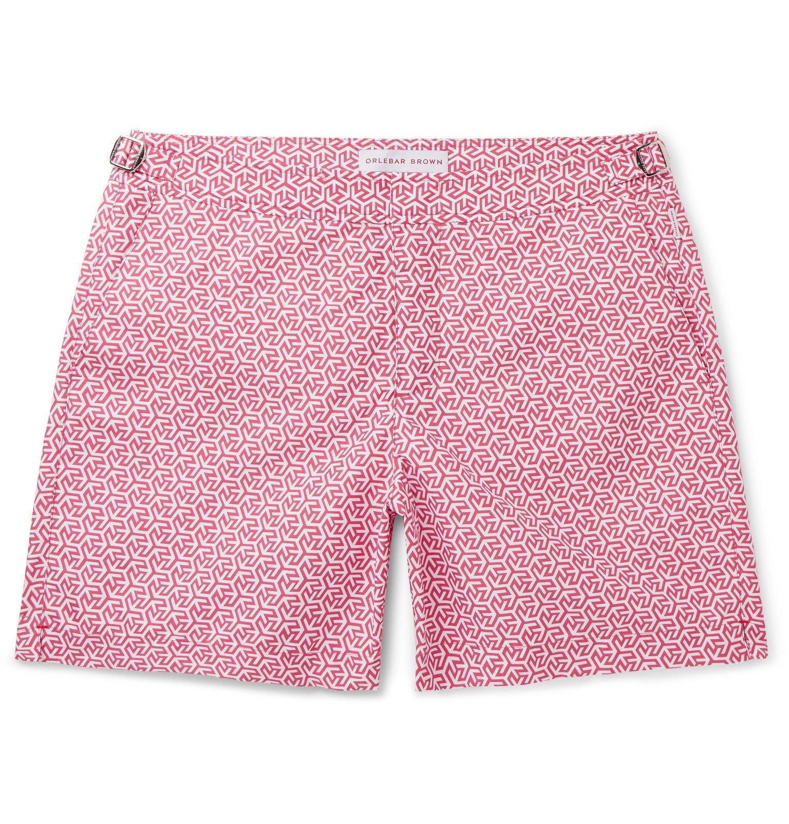 Photo: Orlebar Brown - Bulldog Mid-Length Printed Swim Shorts - Pink