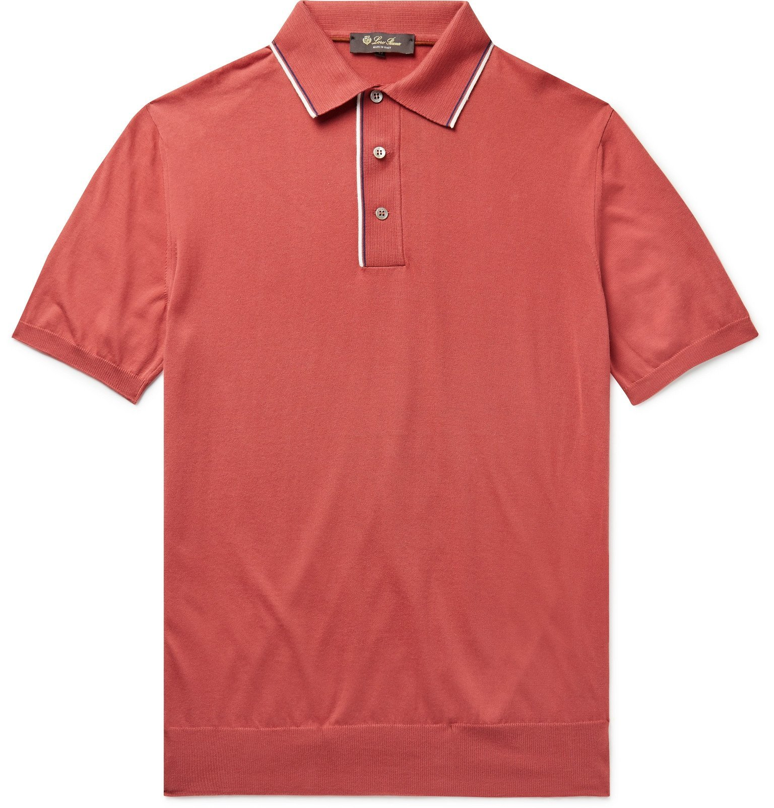 Photo: Loro Piana - Contrast-Tipped Cotton-Jersey Polo Shirt - Red