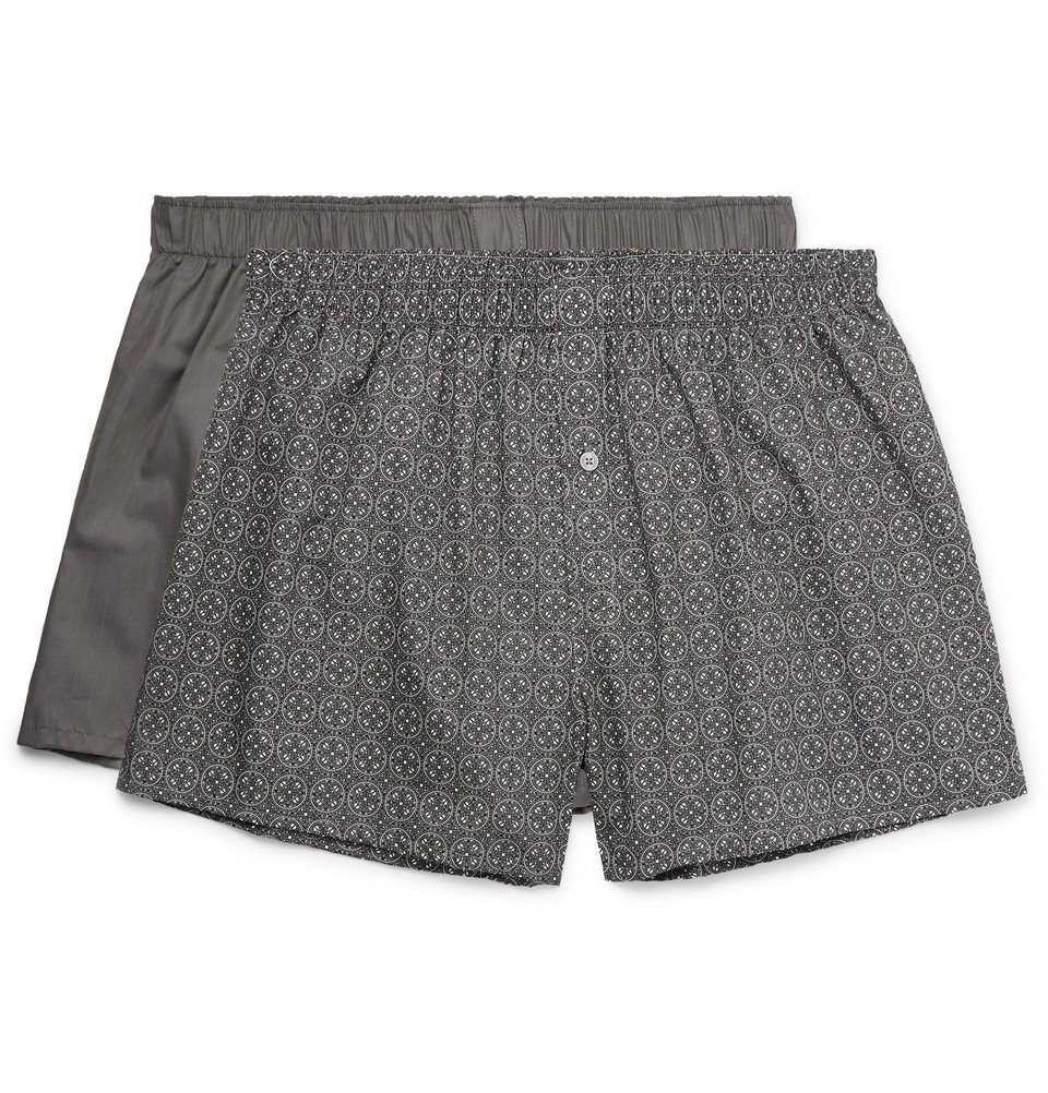 Hanro - Two-Pack Cotton Boxer Shorts - Gray