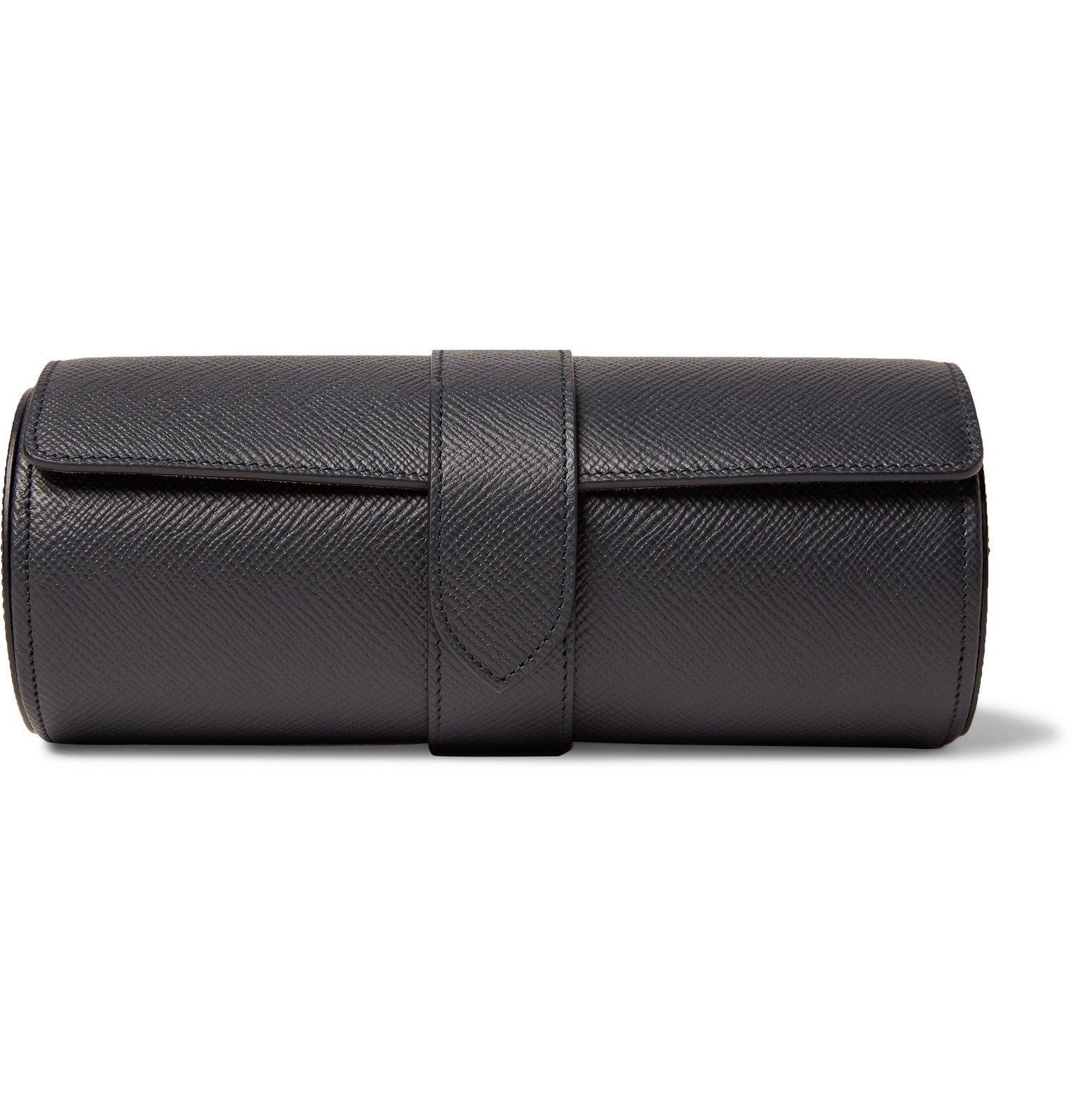 Smythson - Panama Cross-Grain Leather Watch Roll - Blue