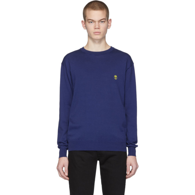 Photo: Moschino Navy Embroidered Logo Sweater