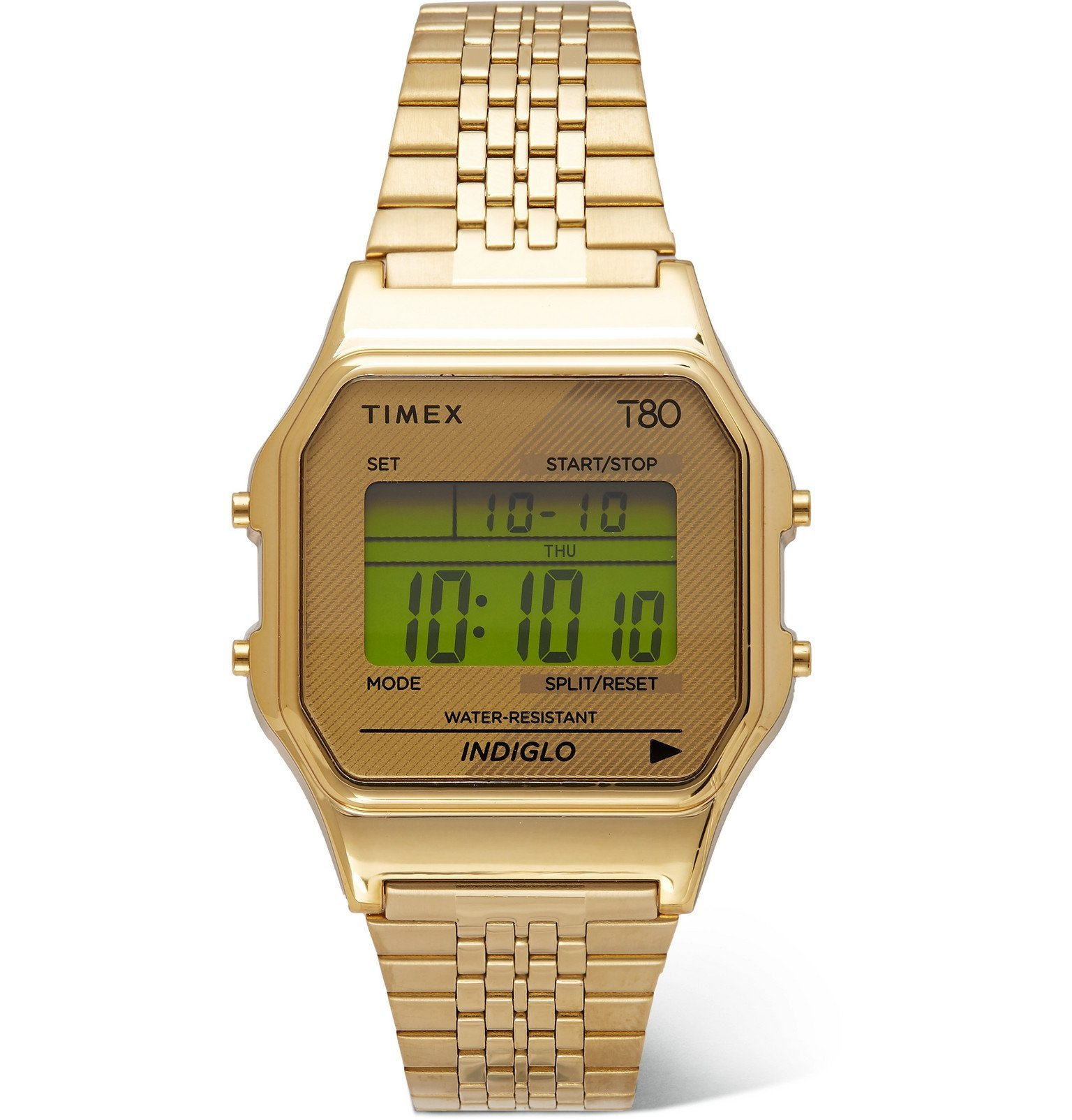 Photo: Timex - T80 34mm Gold-Tone Stainless Steel Digital Watch - Gold