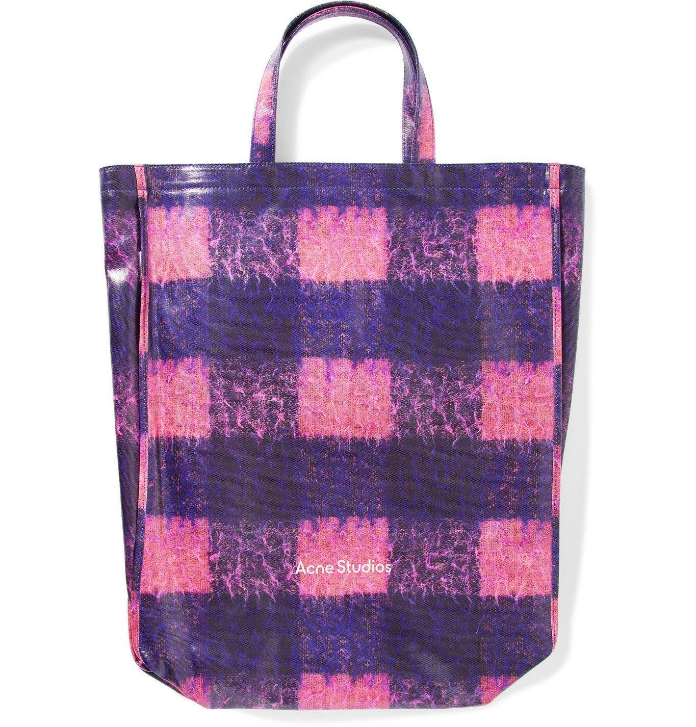 Photo: Acne Studios - Checked Coated-Canvas Tote Bag - Purple