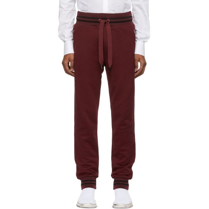 Photo: Dolce and Gabbana Burgundy Striped Cuff Lounge Pants