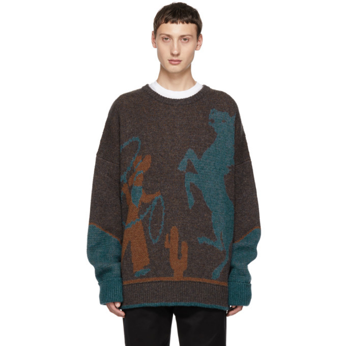 Photo: Dsquared2 Brown and Blue Fin 5 Crewneck Sweater