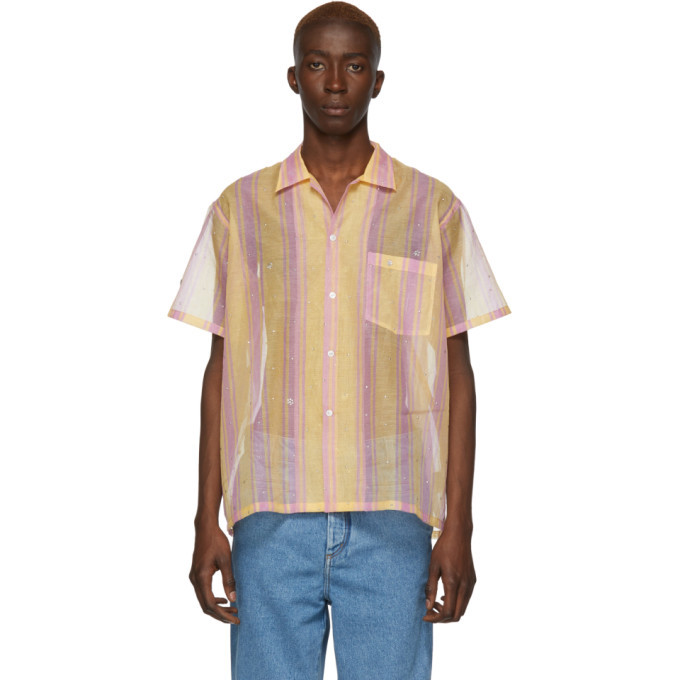 Photo: Bode Orange and Red Sheer Stripe Bowling Shirt