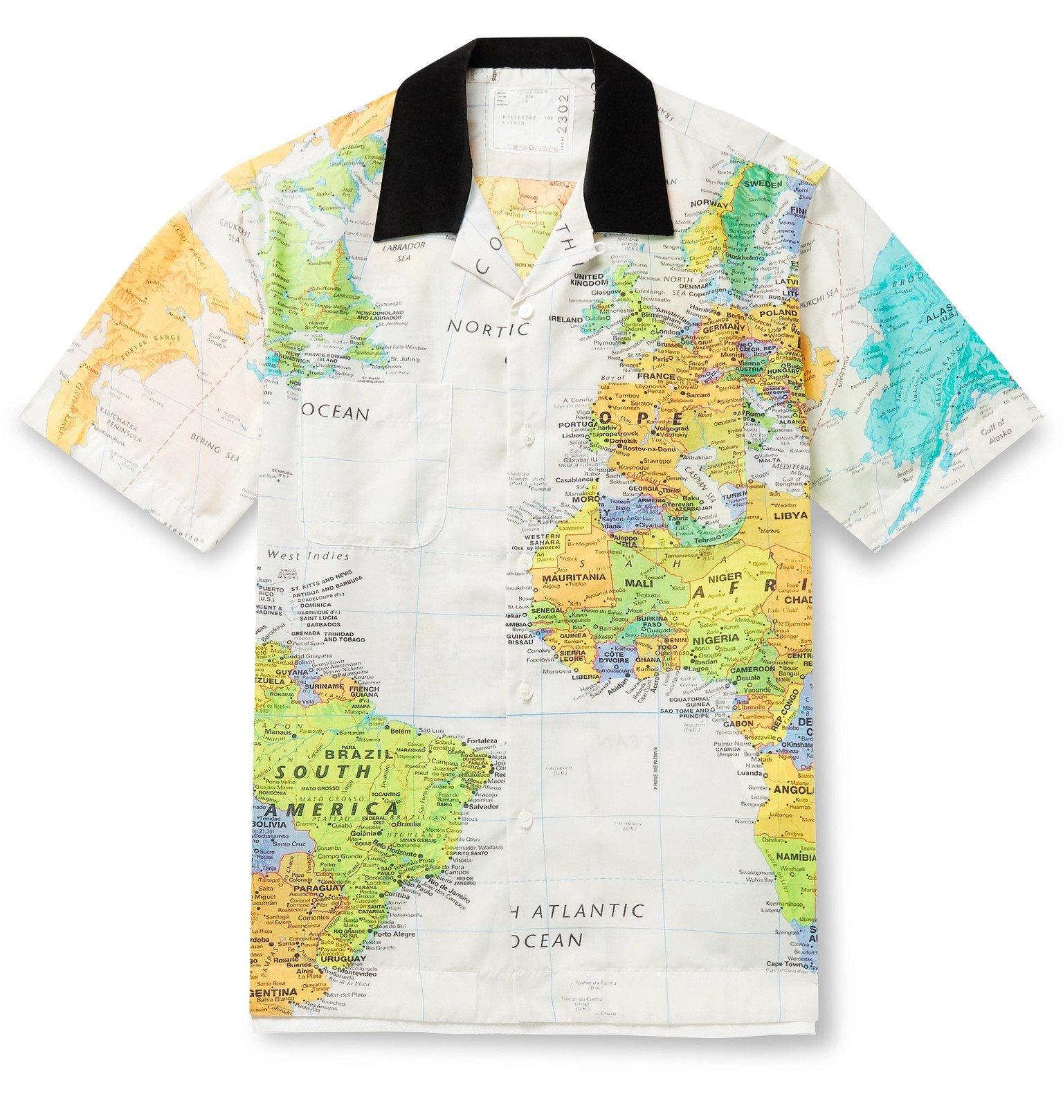Sacai - Camp-Collar Velvet-Trimmed Printed Cotton-Poplin Shirt - Multi