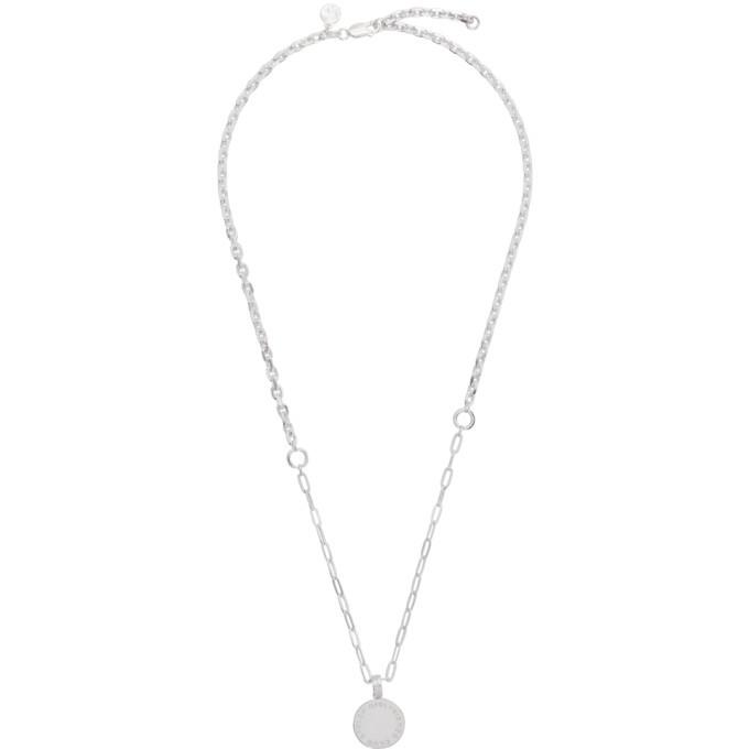 Photo: Stolen Girlfriends Club Silver Text Logo Skewed Necklace