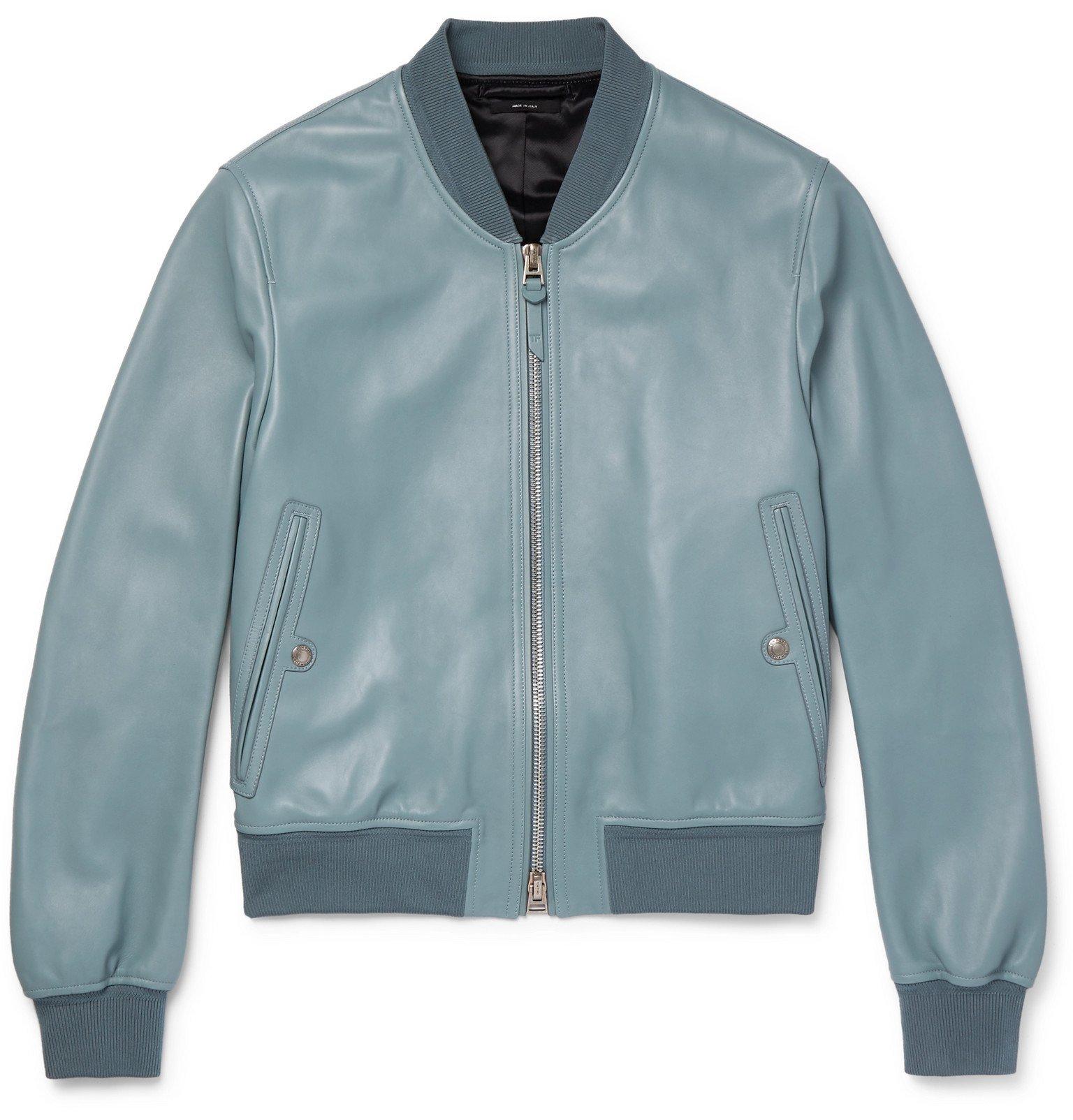 Photo: TOM FORD - Leather Bomber Jacket - Blue