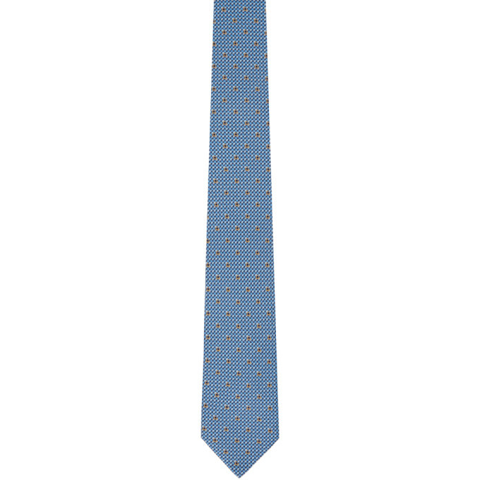 Photo: Salvatore Ferragamo Navy and Blue Gancini Tie