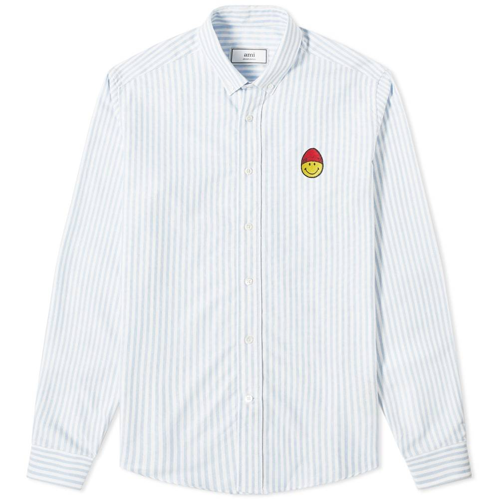 Photo: AMI Smiley Button Down Stripe Oxford Shirt