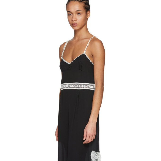 Black Lace Logo Slip Dress Gucci zCNTM