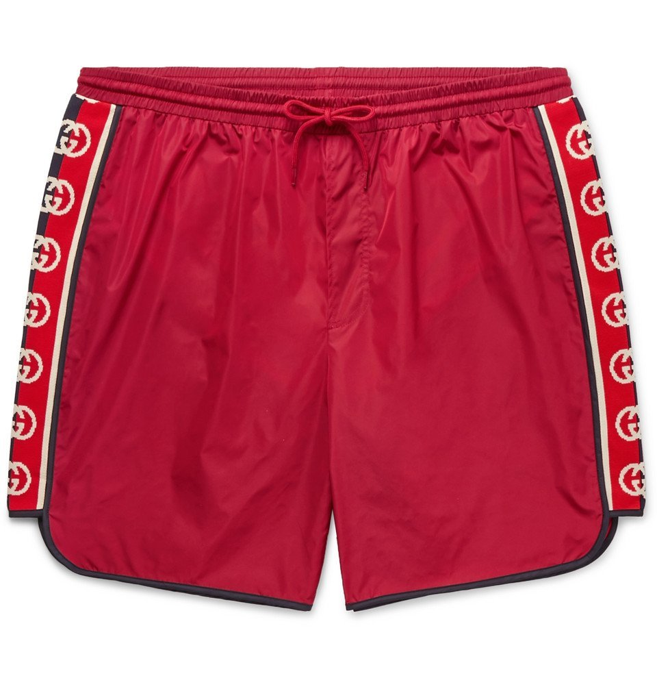 Photo: Gucci - Slim-Fit Mid-Length Logo Webbing-Trimmed Swim Shorts - Red