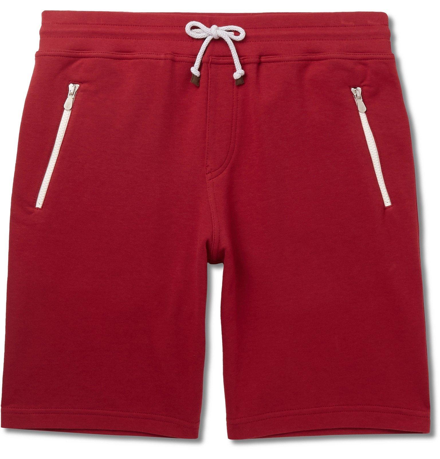 Photo: Brunello Cucinelli - Slim-Fit Cotton-Blend Jersey Drawstring Shorts - Red
