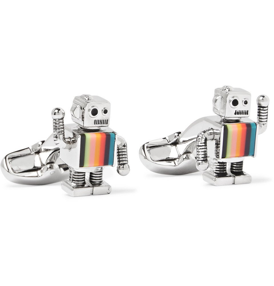 Photo: Paul Smith - Robot Silver-Tone and Enamel Cufflinks - Silver