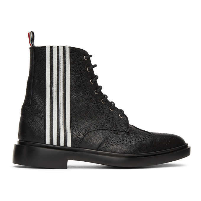 Photo: Thom Browne Black 4-Bar Wingtip Boots