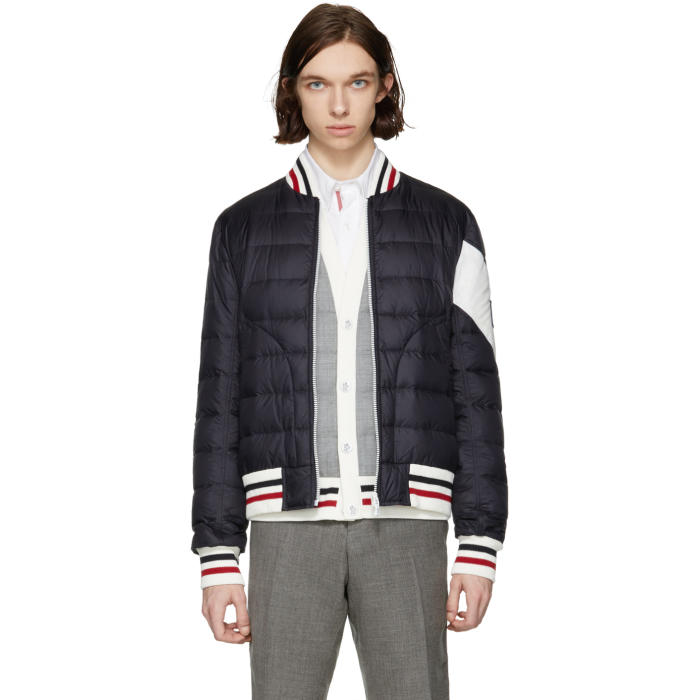 Photo: Moncler Gamme Bleu Navy Down Chevron Bomber Jacket