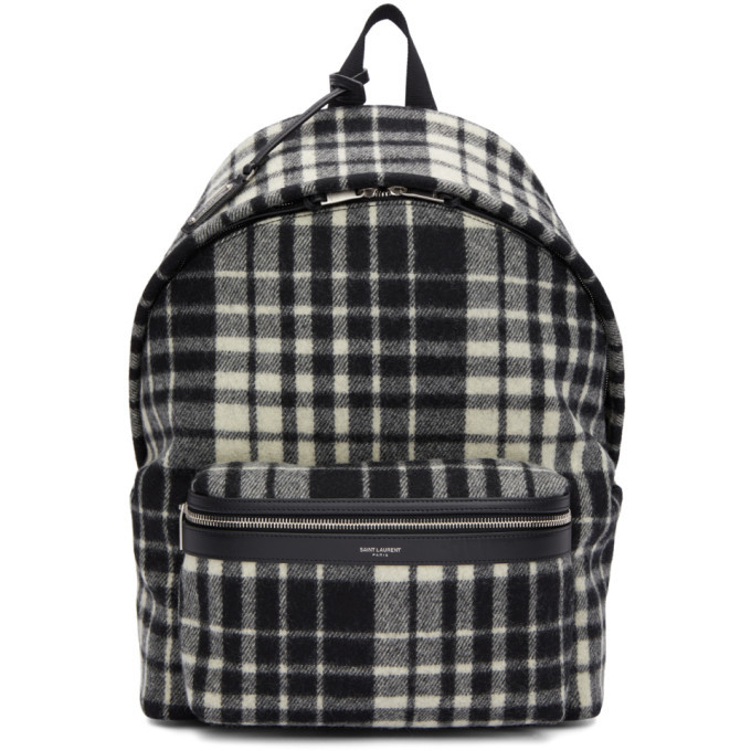 Photo: Saint Laurent Black and White Check City Backpack