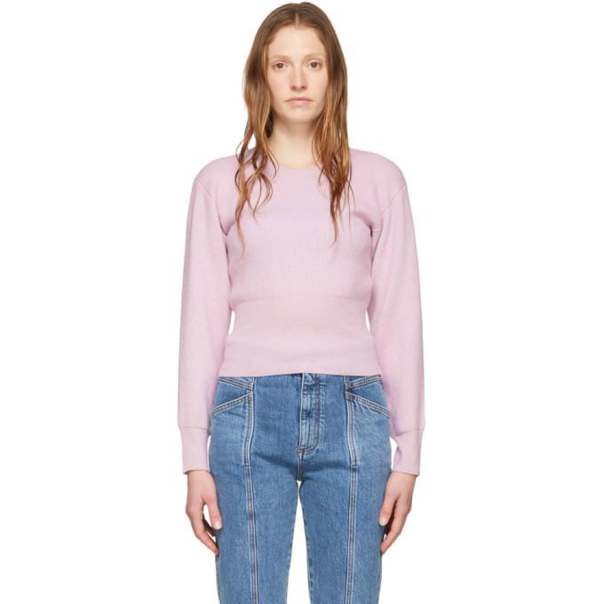 Stella McCartney Purple Cashmere Slashed Sleeve Crewneck Sweater