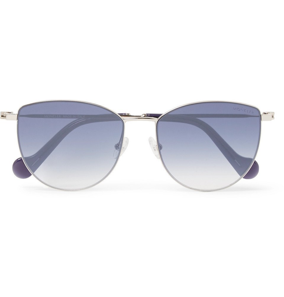 Photo: Moncler - Round-Frame Acetate and Silver-Tone Sunglasses - Blue