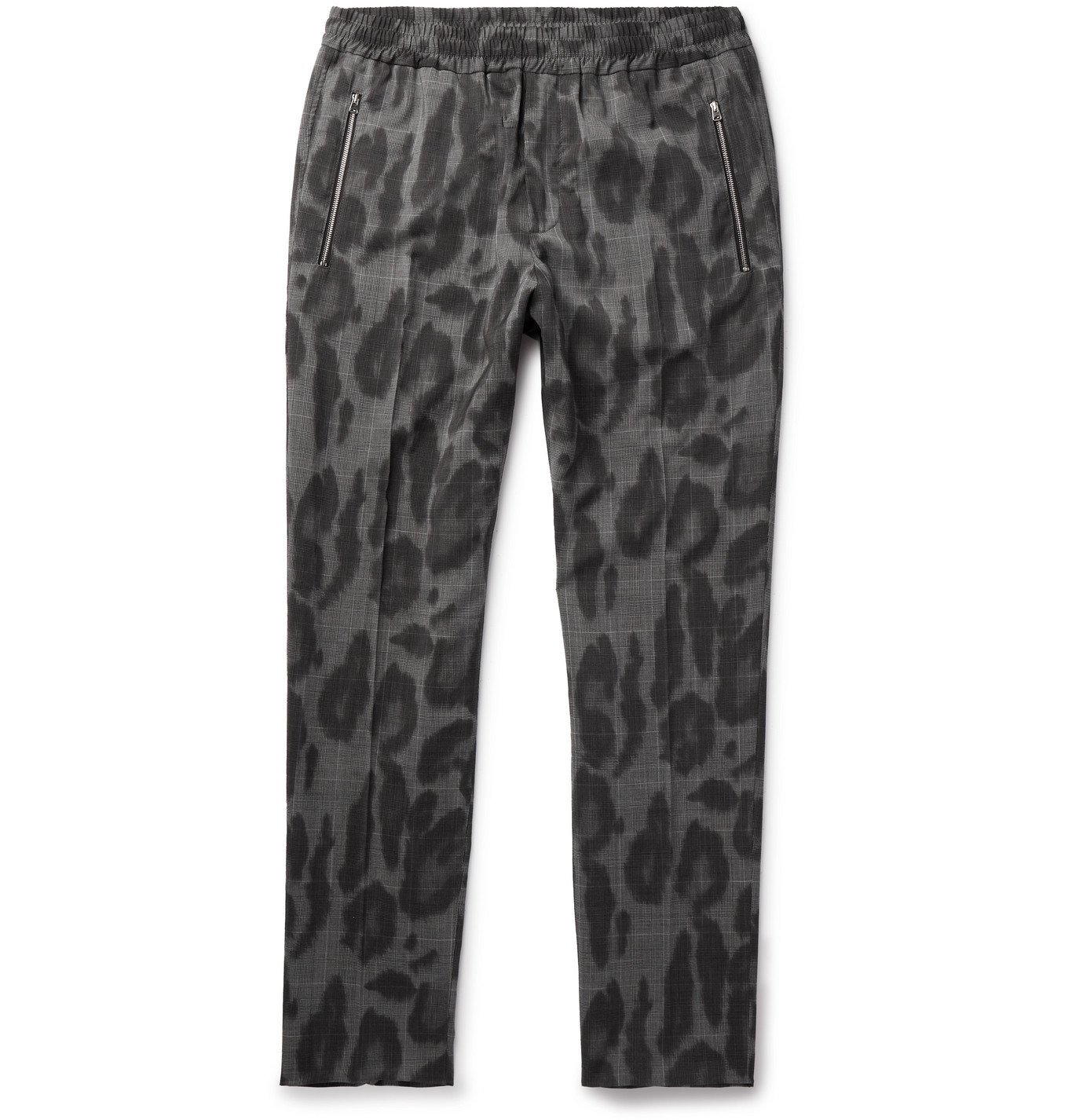 Stella McCartney - Slim-Fit Leopard-Print Prince of Wales Checked Wool Trousers - Gray