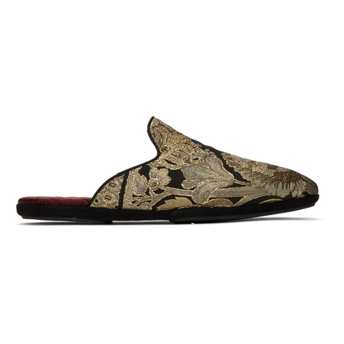 Photo: Dolce and Gabbana Black and Gold Embroidered Loafers