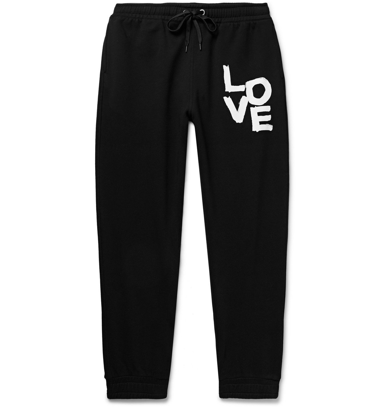 Photo: BURBERRY - Tapered Printed Loopback Cotton-Jersey Sweatpants - Black