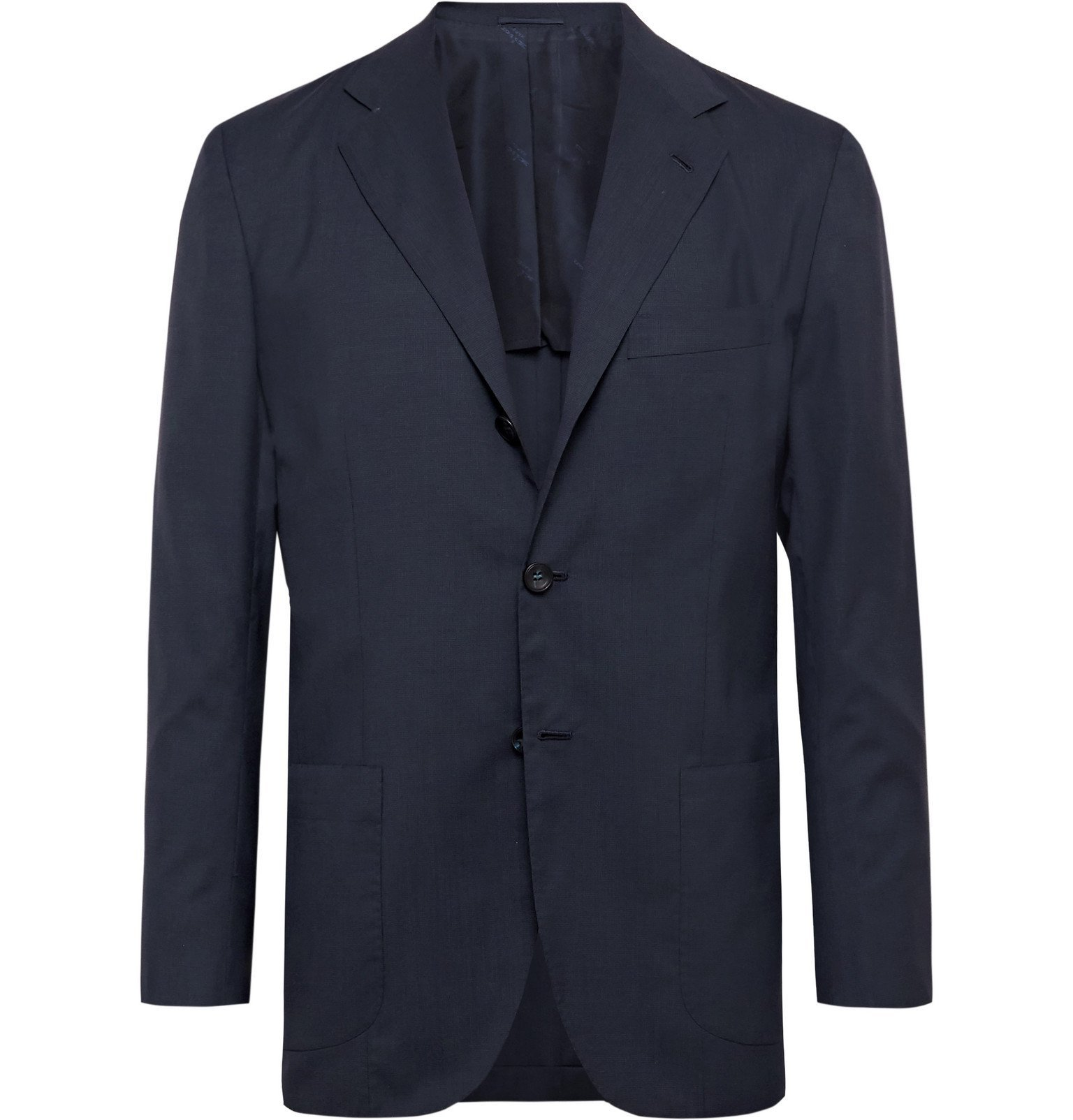 Photo: Kiton - Slim-Fit Unstructured Puppytooth Cashmere Suit Jacket - Blue