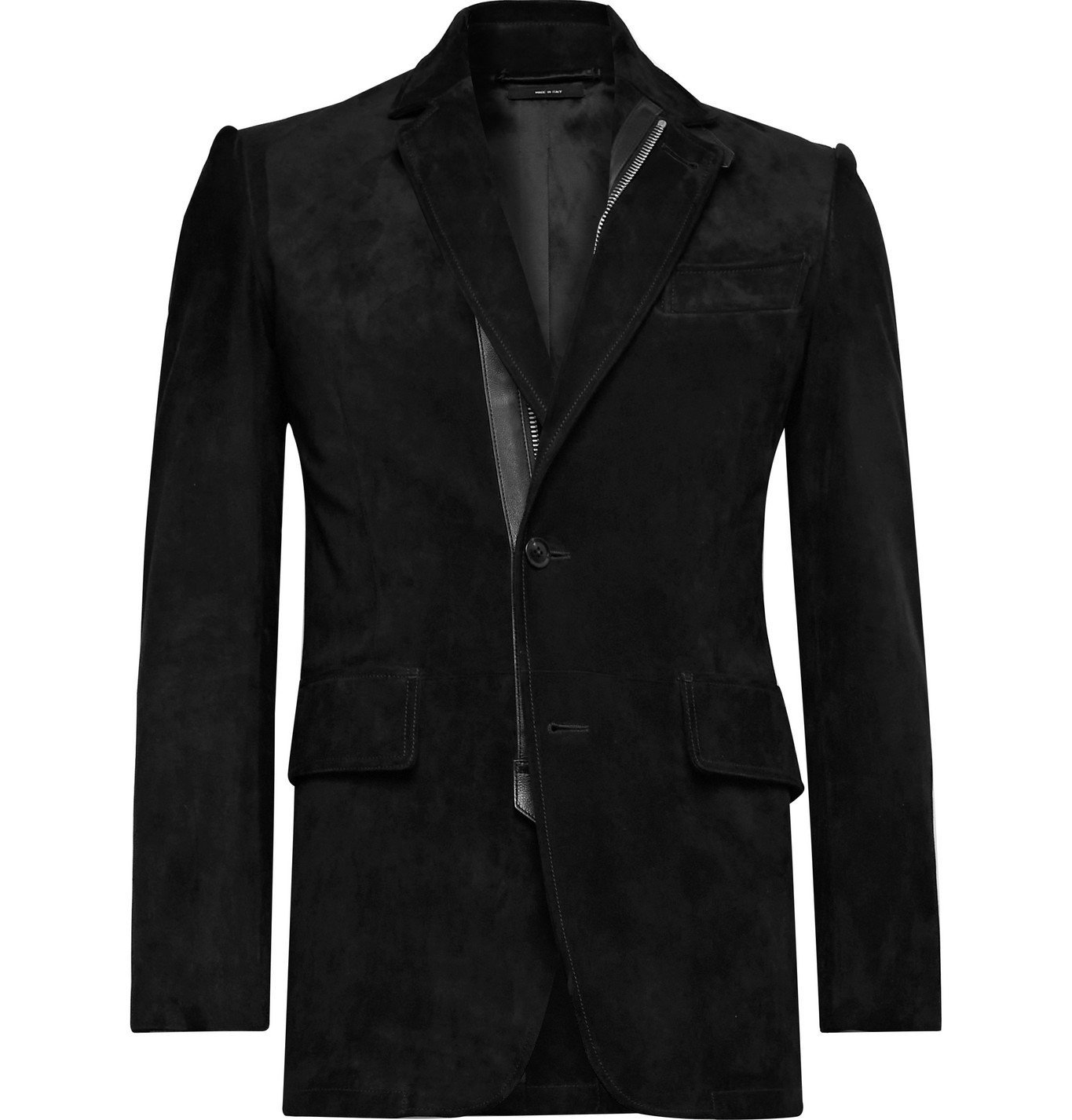 Photo: TOM FORD - Slim-Fit Leather-Trimmed Suede Jacket - Black
