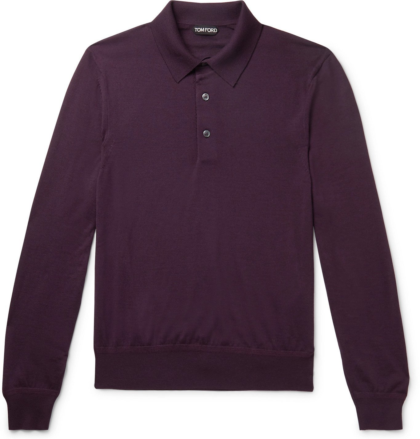 Photo: TOM FORD - Slim-Fit Cashmere and Silk-Blend Polo Shirt - Burgundy