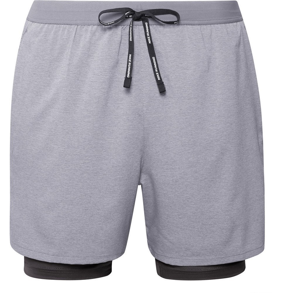 Nike Running - Stride 2-in-1 Flex Dri-FIT and Mesh Shorts - Gray