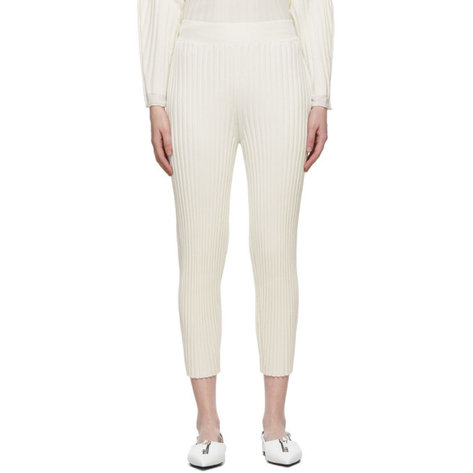 Stella McCartney White Wool Ribbed Lounge Pants