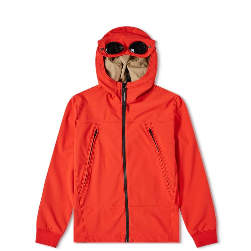 Photo: C.P. Company Undersixteen Hooded Goggle Soft Shell Jacket Red