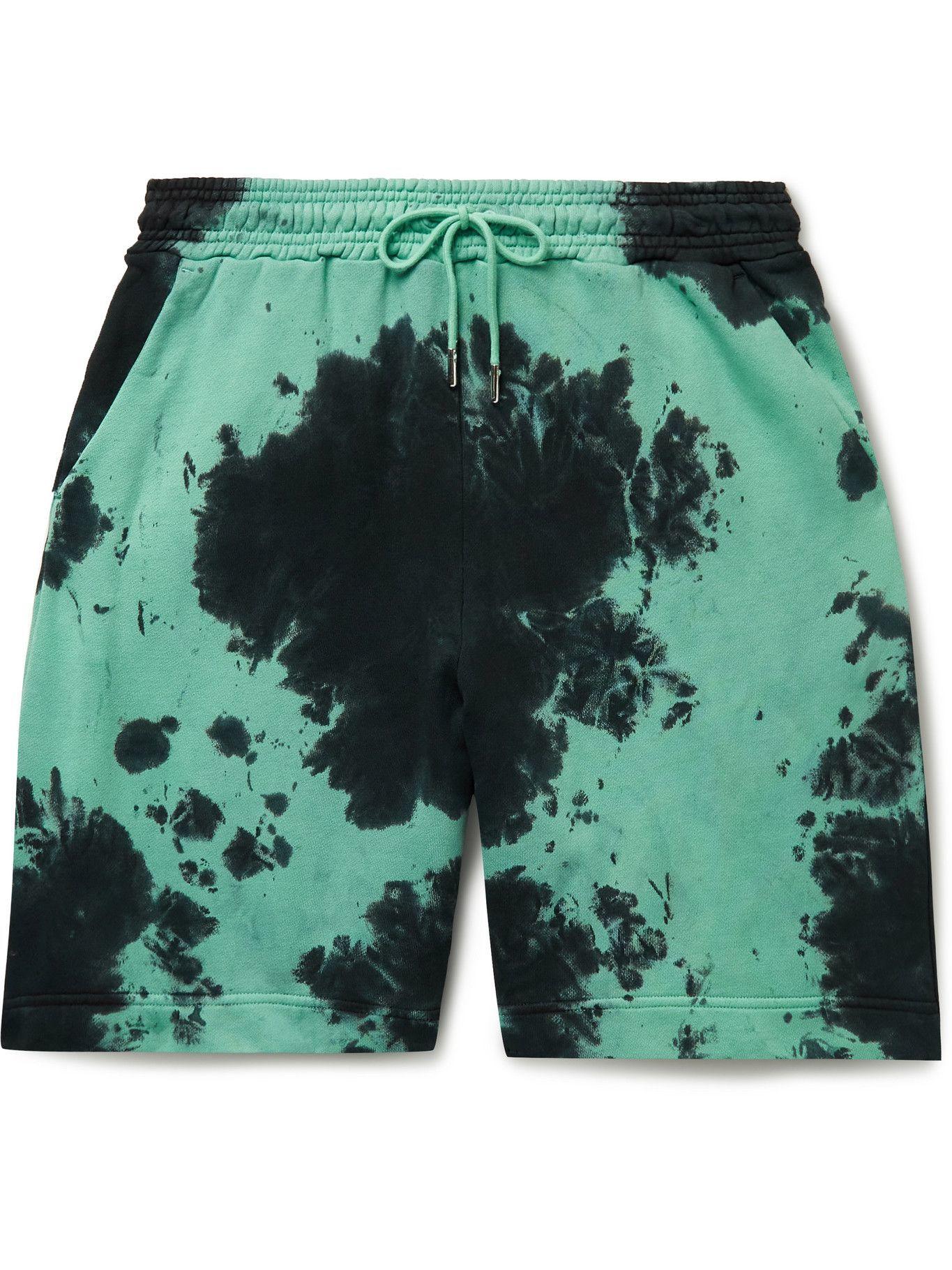 Photo: Ninety Percent - Wide-Leg Tie-Dyed Organic Cotton-Jersey Drawstring Shorts - Green