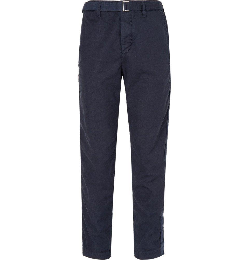 Sacai - Garment-Dyed Cotton-Blend Trousers - Men - Navy