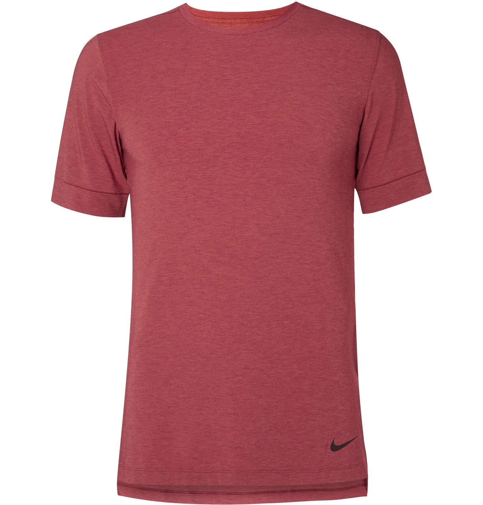 Photo: Nike Training - Transcend Slim-Fit Mélange Dri-FIT Yoga T-Shirt - Red