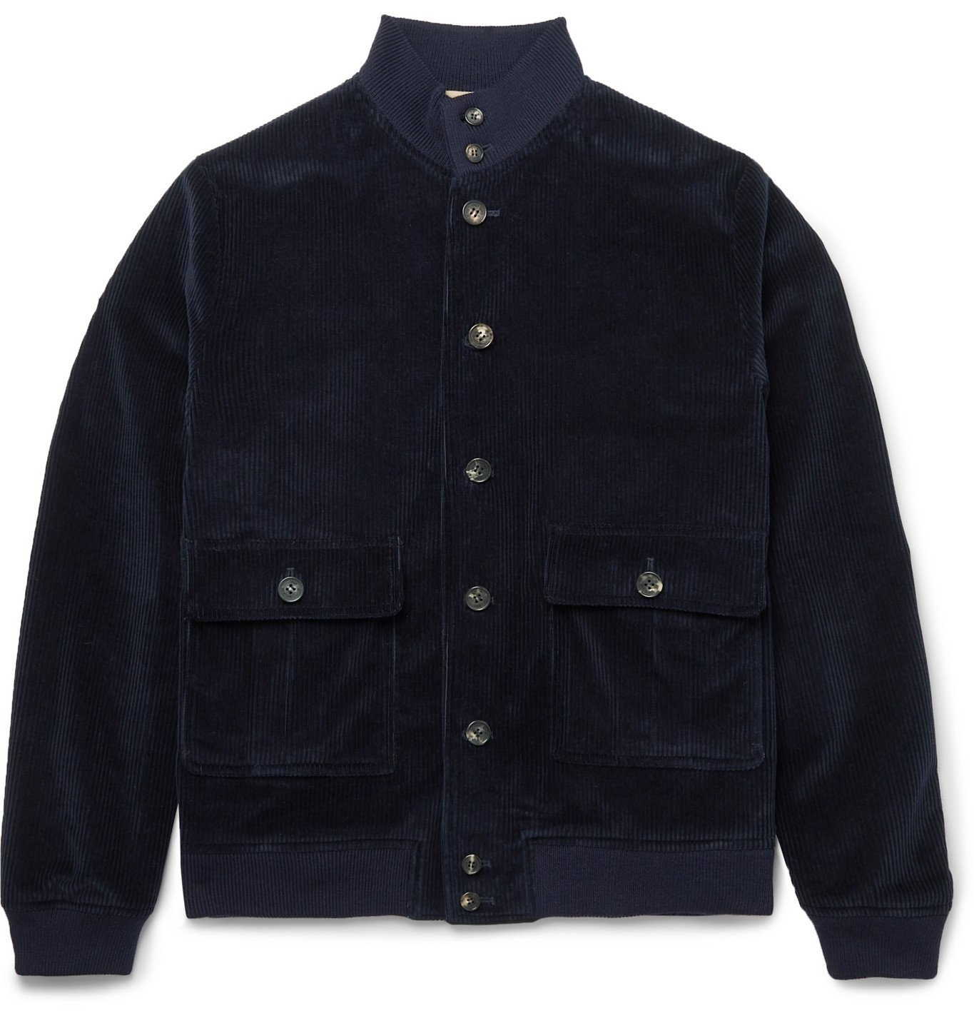 Photo: Valstar - Valstarino Slim-Fit Cotton-Blend Corduroy Bomber Jacket - Blue