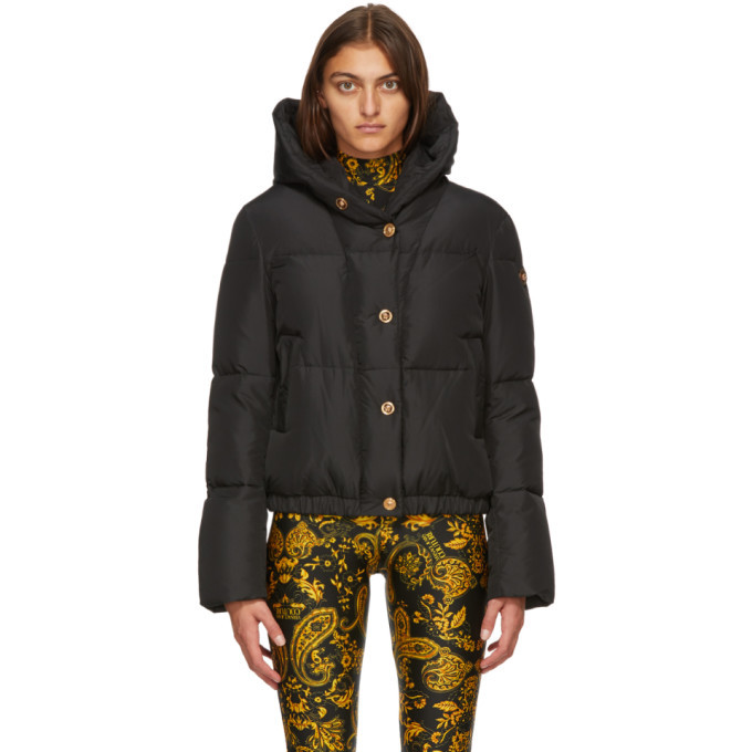 Photo: Versace Black Down Hooded Puffer Jacket