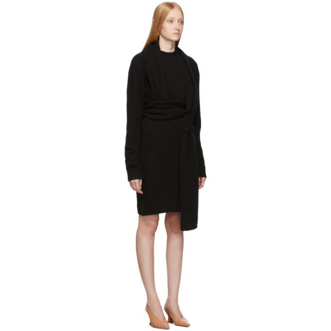 Bottega Veneta Black Twin Scarf Knit Dress