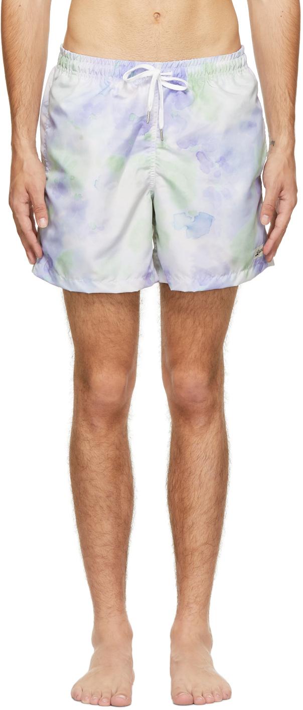 Photo: Bather Purple & Green Tie-Dye Swim Shorts