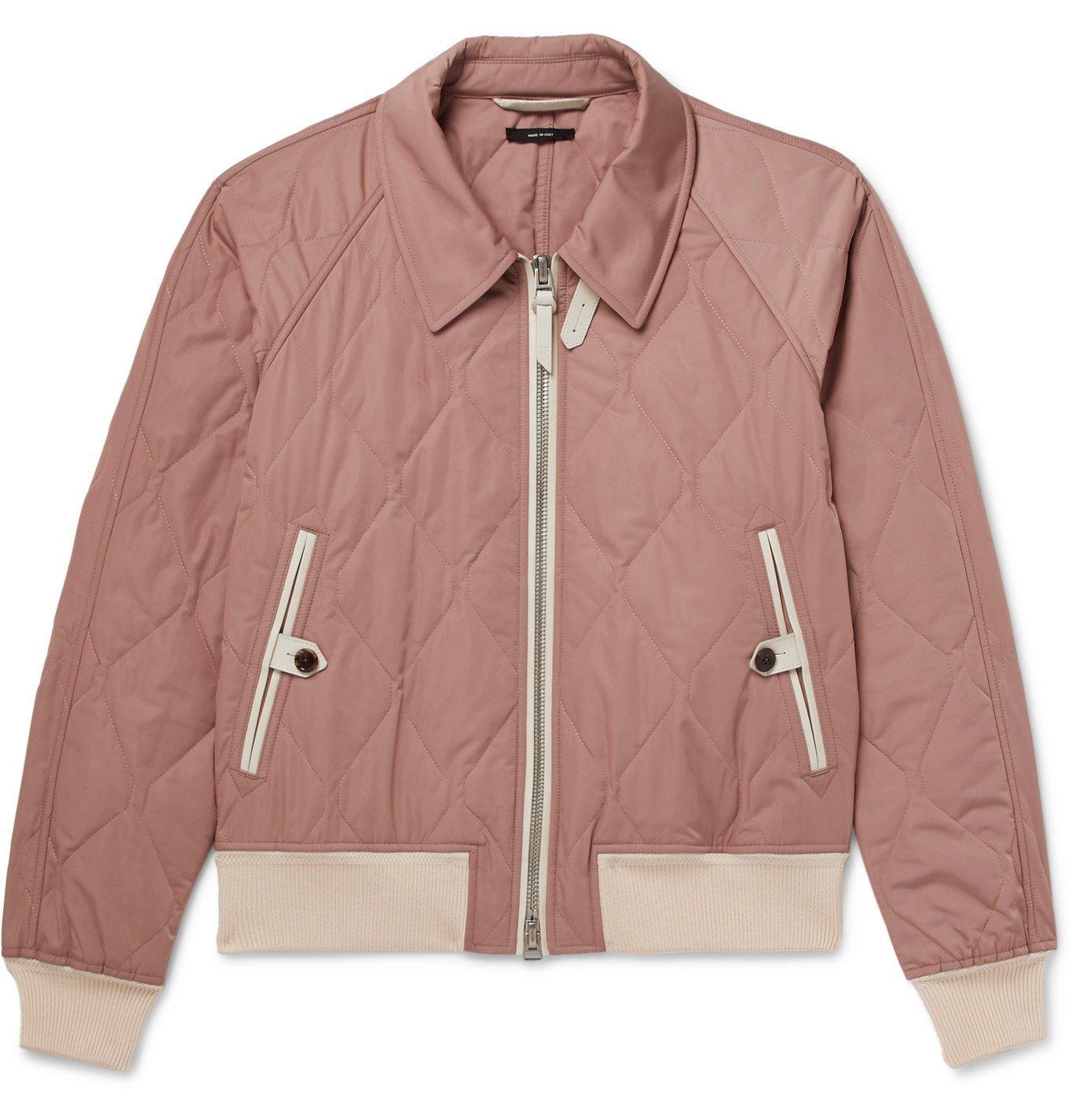 Photo: TOM FORD - Leather-Trimmed Quilted Shell Bomber Jacket - Pink