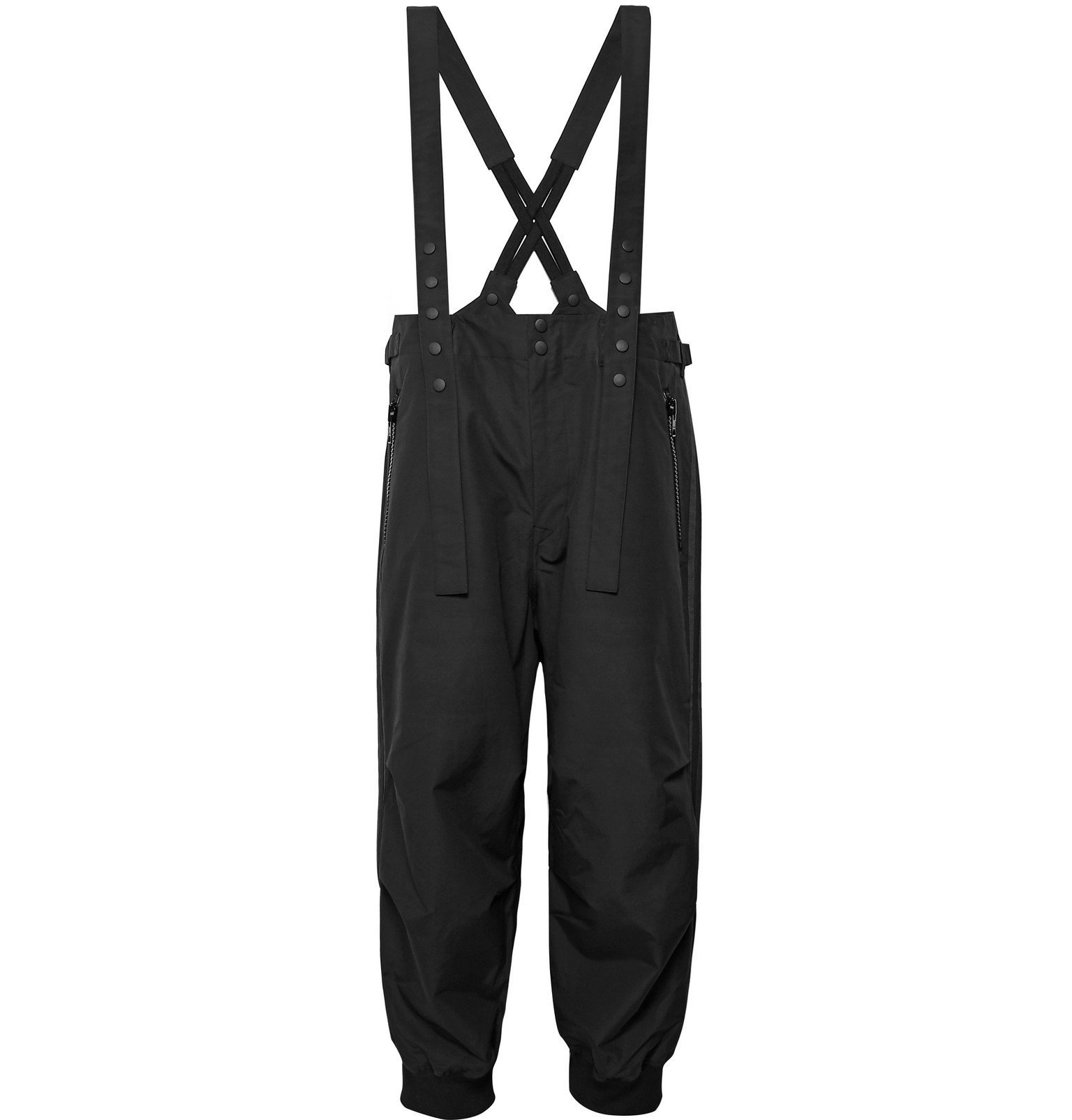 Photo: Y-3 - Grosgrain-Trimmed Cotton and Nylon-Blend Overalls - Black