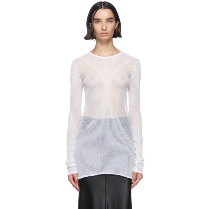 Photo: Ann Demeulemeester White Sheer Foggy Sweater