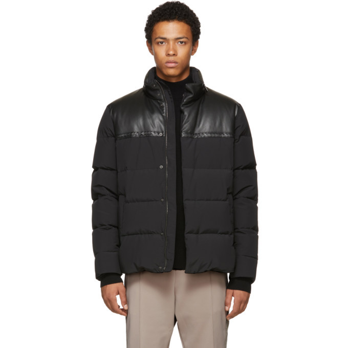 Photo: Bottega Veneta Black Nylon and Leather Down Parka