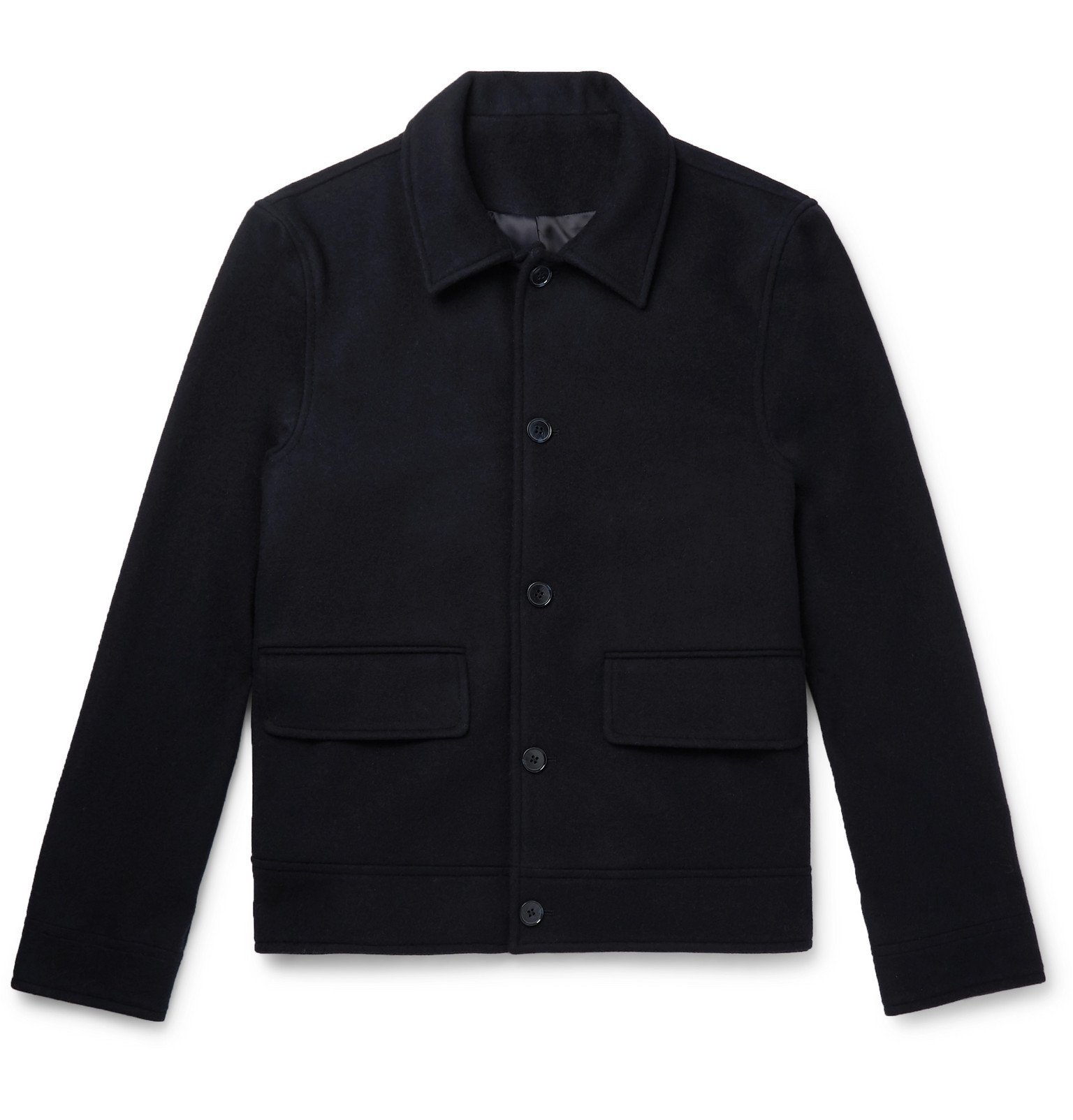 Photo: Officine Generale - Karl Wool and Cashmere-Blend Harrington Jacket - Blue
